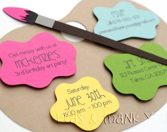 Signature Artist's Palette Birthday Invitations · A2 Die Cut · Fuchsia Yellow Green Aqua Orange · Painting Party | Paint Palette and Brush