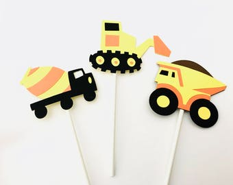 Construction cupcake toppers/ transportation party/ set of 12