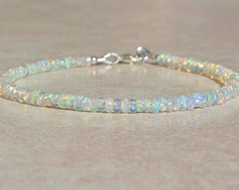 Opal Bracelet, October Birthstone Bracelet, Natural Ethiopian Opal Jewelry, Gemstone Beaded Bracelet, Delicate Bracelet, Gift for Mom Wife