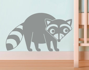 Raccoon Wall Decal Woodland Cute Baby Animal Nursery Room Theme