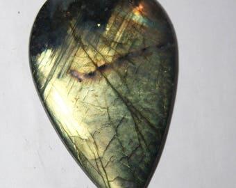 labradorite, spectrolite cabochon, 52x33x2 mm