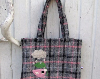 Handbag tote bag gray pink tweed with a needle felted birdie bird and cloud