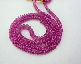 16-inch Natural Rubellite Tourmaline faceted rondelle beads size 3-5mm 54cts
