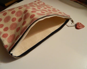 patterned red pouch with red heart, canvas sturdy, valentine perfection!