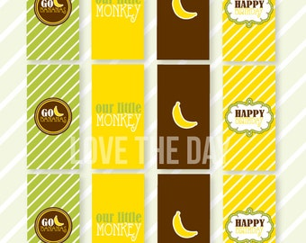Monkey Party PRINTABLE Mini Candy Bar Wrappers (INSTANT DOWNLOAD) by Love The Day