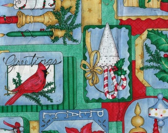 """CHRISTMAS COLLAGE Cotton Fabric, 1 yard by 42"""" wide"""