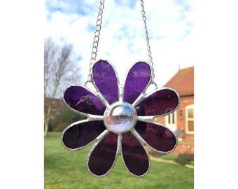 Stained glass purple flower suncatcher decoration gift