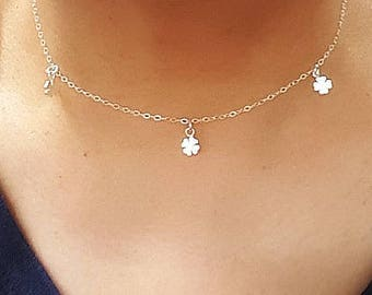 Delicate TINY Clover, Sterling Silver Clover Necklace, Tiny Clover Choker, Gift for her, Birthday Gift, Flower Necklace