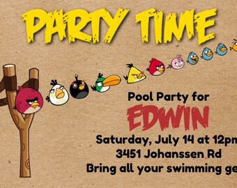 Angry Birds Invitations, Angry Birds, Angry Birds Party, invitations, birthdays, birthday party, angry bird, pig, custom invitations, party