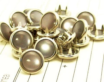 24 Light Grey Cowgirl Snaps Pearl Prong Western Snaps