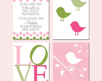Baby Bird Nursery Art Bird Nursery Decor You Are My Sunshine Love - Set of 4 Prints - CHOOSE YOUR COLORS - Shown in Shades of Pink and Green