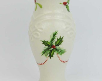 Lenox Holiday Dimension Collection  Ivory Holly Berries Embossed Bud Vase