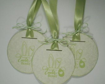 Easter Bunny Tags, Bunny Tags, Easter Bunny, Easter Tags, Bunny Tags, Handmade Tags, Gift Tags, Easter Favor Tags, Set of 8, Green