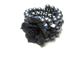 Sugar Skull Bracelet Day Of The Dead Jewelry Black Rose Wedding Accessory Gunmetal Gray