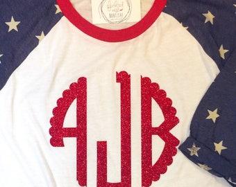 Monogrammed Star Sleeve Raglan - Fourth of July Shirt - Red White and Blue Monogrammed Tshirt - Monogram Baseball Shirt - July 4th Tee