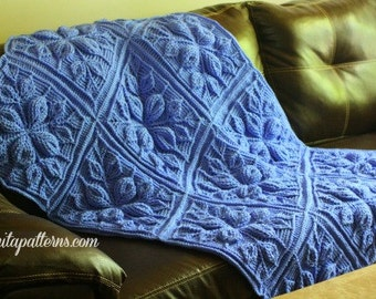 CROCHET PATTERN - Embossed Leaves Blanket- NEW Embossed Crochet Technique - Permission to Sell Finished Items