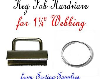 "12 Sets - 1 1/4"" - KEY FOB HARDWARE, 1.25, 1 1/4 inch, Nickel Rectangular Top, 24 pieces"