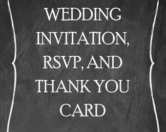 Wedding Invitation Set_ RSVP and Thank You_ Printable