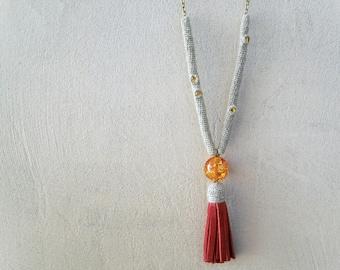Hot Tassel Necklace Linen Hemp Leather, Ruby Red Bohemian Fringe, crochet tube topaz swarovski crystals