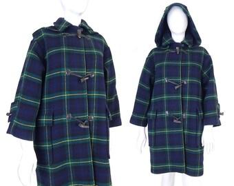 Vtg 80s The Scotch House Plaid Duffle Coat - Petite L XL - Hooded Womens Blue and Green Tartan Heavyweight Vintage Wool Toggle Coat