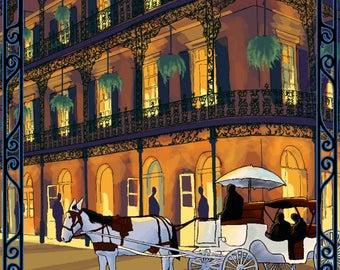 New Orleans, Louisiana - French Quarter at Night - Lantern Press Artwork (Art Print - Multiple Sizes Available)