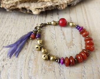 Bohemian bracelet, hippie gypsy jewelry, yoga bracelet, boho chic bracelet, gemstone bracelet, gift under 50