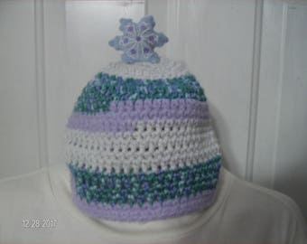 Crochet Baby Winter Snowflake Hat sized to fit 12 to 18 months