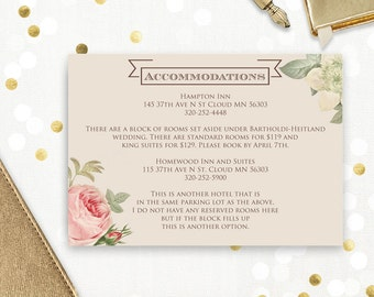 Printable Accommodations Card, Info Card, Direction Card, Bridal / Wedding Detail Cards Rustic Blush Roses DIY - Editable - INSTANT DOWNLOAD