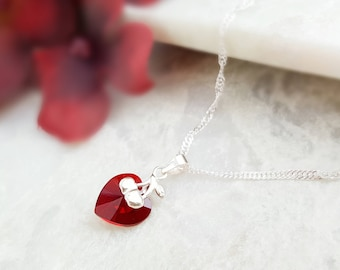 Red Cherry Necklace - Red Heart Necklace Swarovski - Cherry Necklace Ruby Silver - Valentine Necklace for Her Romantic Girlfriend Gift N1151