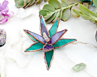 Stained Glass Succulent, succulents, cacti, crystals, home decor, healing, plants, glass plants, garden decor, gifts for her, cool things