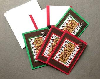 Handmade Fabric Chocolate Shoppe Christmas Gift Enclosure Cards Set of 6