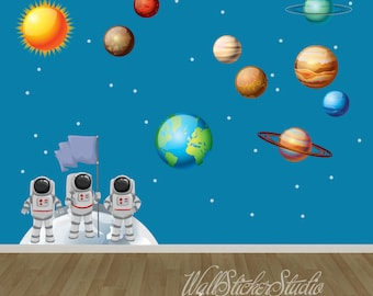 Solar System Wall Decal, Astronaut Solar System Fabric Wall Decal Stickers, Reusable Wall Decal