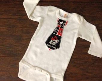 Georgia Inspired Tie One Piece Bodysuit, Baby Boy University of Georgia Appliqued Tie, Newborn Appliqued Bodysuit, Select Your Size