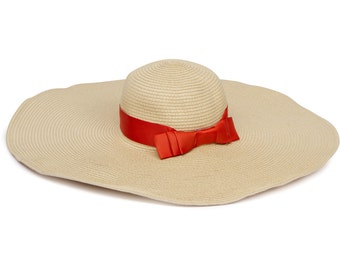 Extra Wide Brim Sun Hat with  Orange Ribbon & Bow Detail