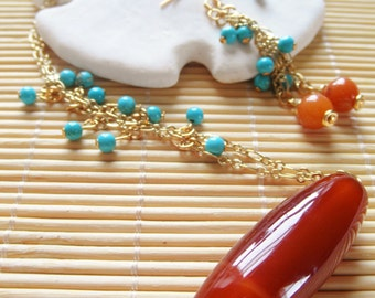 """21"""" Red Orange Agate and Turquoise Necklace and earrting set"""