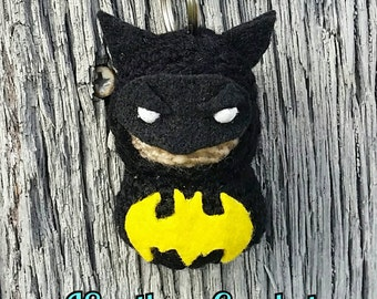 Batman inspired Crochet Key Chain, Key Pom,