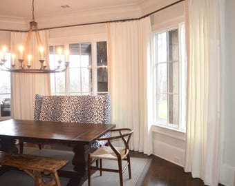 Pleated Linen Drapery Panels with Schumacher Trim