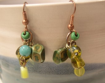 Earrings Vintage Green Turquoise Amber Copper