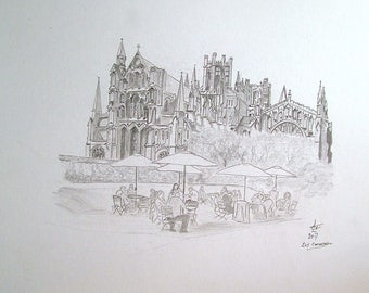 Graphite Pencil drawing of Ely Cathedral. Cambridgshire