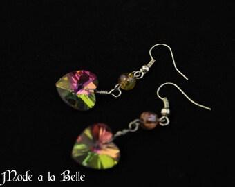 Multicolor Crystal Heart drop earrings