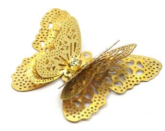Raw Brass Filigree Butterfly Pendant (39x33 Mm)  Brs 547d  D220--N684