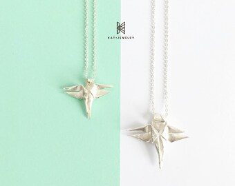 Origami Jewelry Silver Dragonfly Set Necklace
