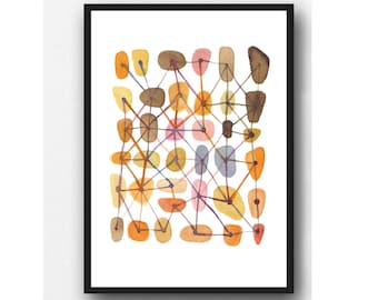 Print of abstract watercolor painting, connections, West Elm, orange watercolor art print, abstract print office decor