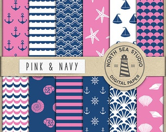 AHOI Nautical Digital Paper Pack | Scrapbook Paper | Printable Backgrounds | 12 JPG, 300dpi Files | BUY5FOR8