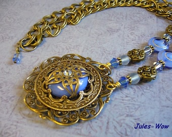 Periwinkle Blue Victorian Necklace And Pendant