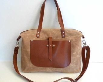 Tan Waxed Canvas Weekender Bag  -  Single Leather Strap Shoulder bag / Tote Bag / Diaper Bag / Waxed Canvas Bag