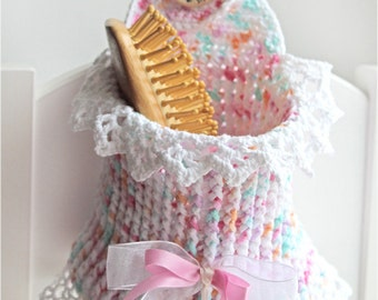 Crochet basket for baby room, cotton
