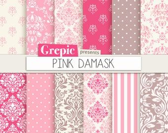"""Pink damask digital paper: """"PINK DAMASK"""" digital paper pack with pink damask backgrounds and classical patterns"""