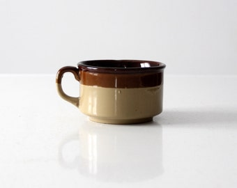 stoneware ceramic mug, vintage 2-tone soup bowl