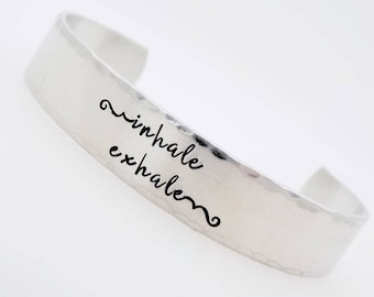 Inspirational Jewelry,Inhale Exhale, Handstamped Adjustable , Lotus Jewelry bracelet, Going through difficult times, Gift for Daughter